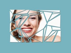 Woman with braces shattered glass effect