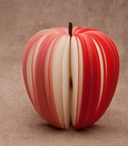 Finely-sliced braces-friendly apple